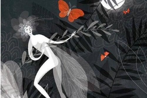 Kvinde og sommerfugle