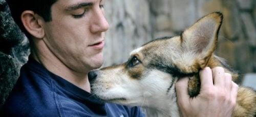 Mand der sidder og kæler sin hund