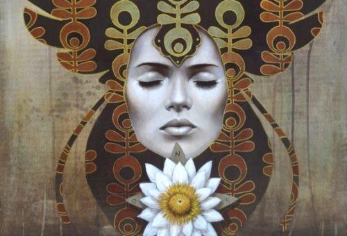 Kvinde ansigt og en blomst