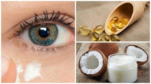 Brug naturlig creme af kokosolie til at forynge huden omkring øjnene