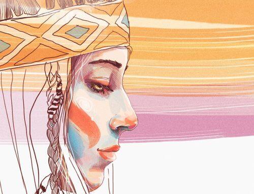 En kvinde i indianertøj.