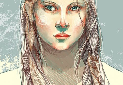 Tegning af kvinde uden toej