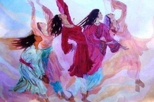 Tegning af 4 kvinder