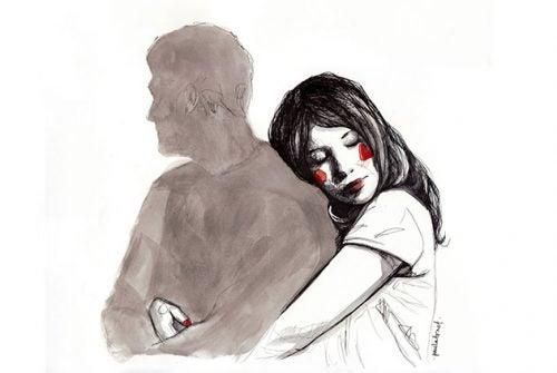 Kvinde krammer en skygge