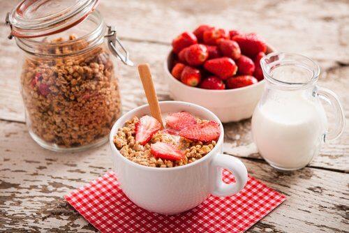 Havregryn med jordbær