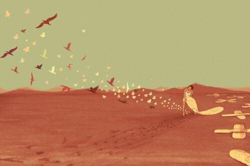 Kvinde i ørken