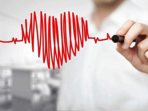Hjerte tegnet med tusch