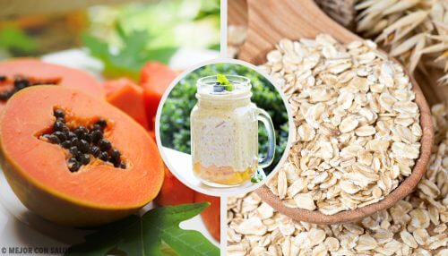 Papaya-, æble- og havregrynssmoothie til at balancere dit fordøjelsessystem