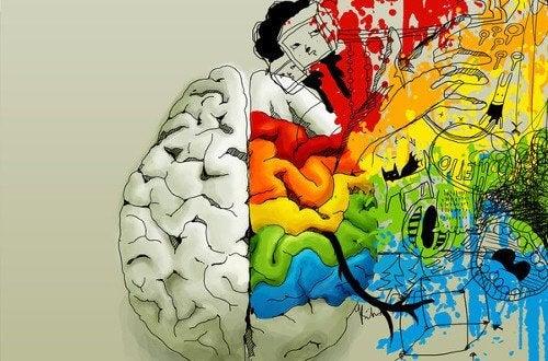 Billede af en hjerne der har kreative tanker - negativ tankegang