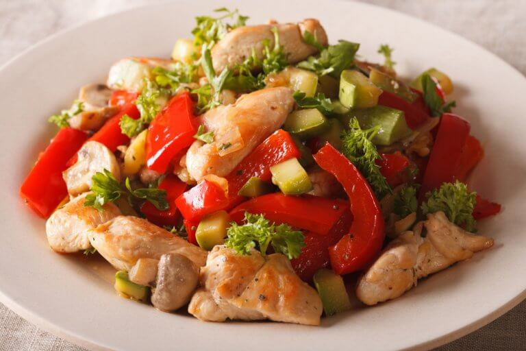 Kylling med grøntsager