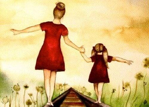 Tegning af mor og datter