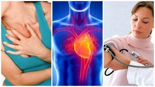 Her ses nogle af symptomerne for hypertension