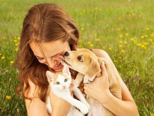 Kvinde der sidder med en kat og en hund