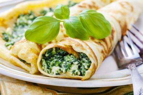 Der spises spinat ruller - laekre spinat pandekager