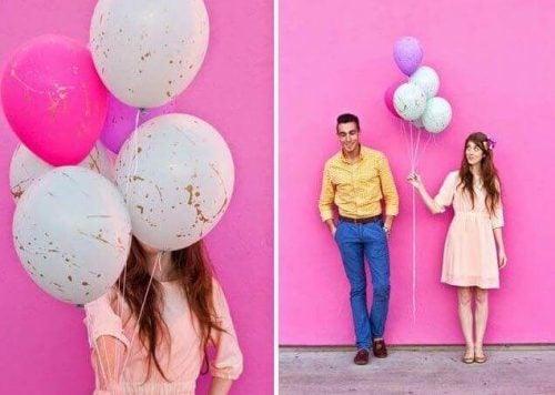 Balloner med splatter af maling