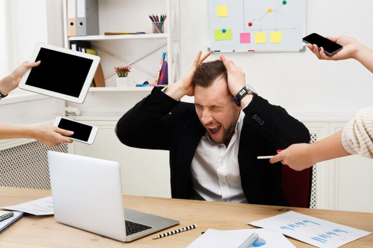 Stress på arbejdspladsen.