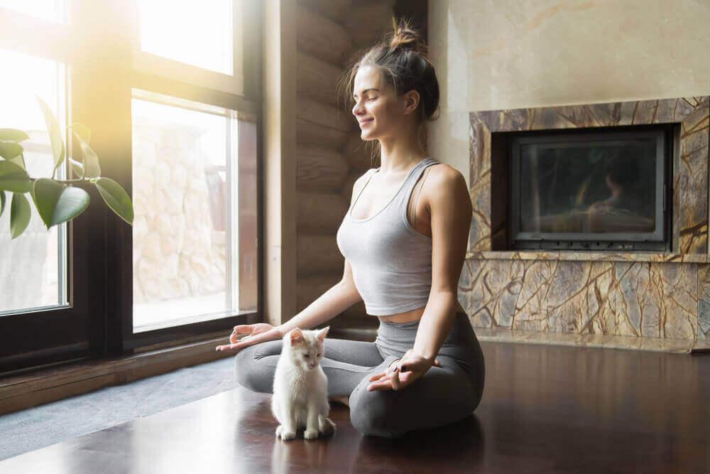 Yogakvinde og kat