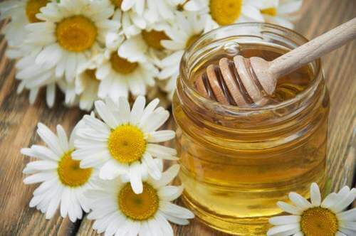 Kamille og honning til at lindre migræne.