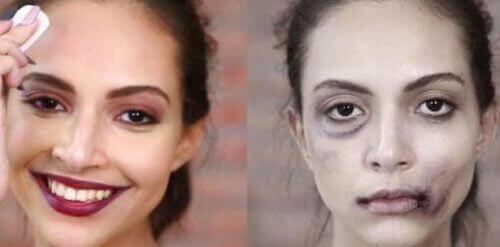 Nogle kvinder forøger at skjule mærker fra slag med makeup