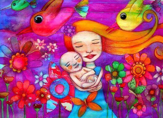 illustration af mor og barn med blomster og fugle