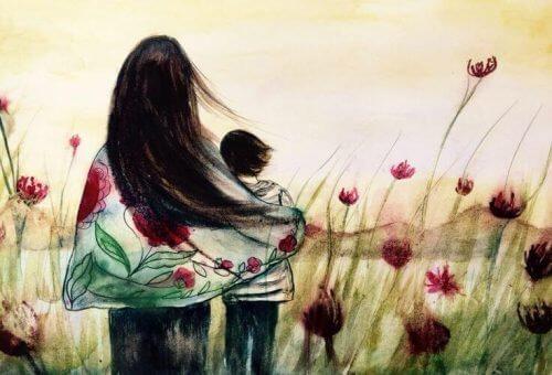 mor og barn i en mark - dine instinkter kender ingen retningslinier