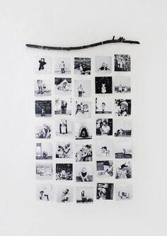 Brug en gren eller en pind til at hænge dine billeder på væggen