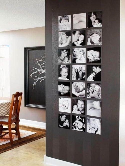 Du kan dekorer en tom væg med fotos