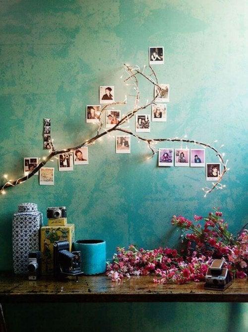 Placer dine fotos. så de ligner bladene på en gren