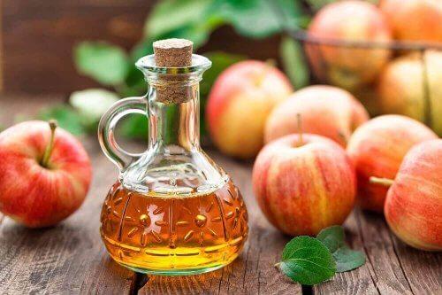 Æblecidereddike i glasflaske med æbler omkring