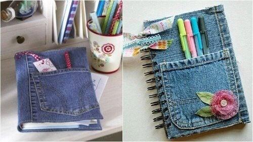 Udsmyk dine notesbøger med jeansstof