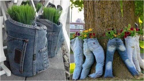 Urtepotter er en kreativ anvendelse af dine gamle jeans