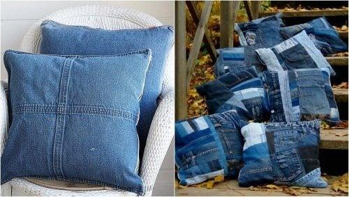 Lav puder til din seng eller dine møbler ud af aflagt jeansstof