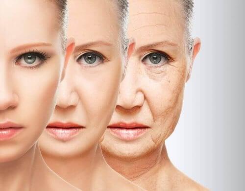Kvindes ansigt, der ældes med ynde, viser fordele ved at tilføje sukkerroer til kosten