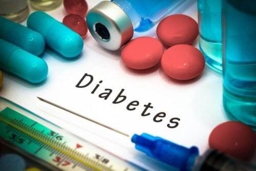 Diabetes illustreres af medicin og sprøjte