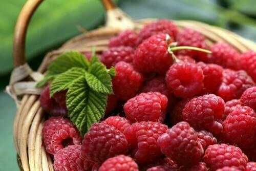En kurv med hindbær