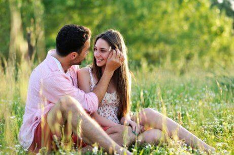 Par sidder sammen på eng
