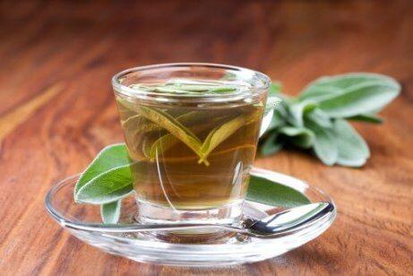 Te med salvie til mindre porer