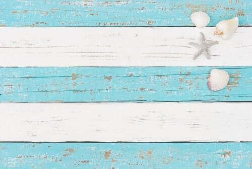 Blå og hvide træpaneler illustrerer nautisk indretning