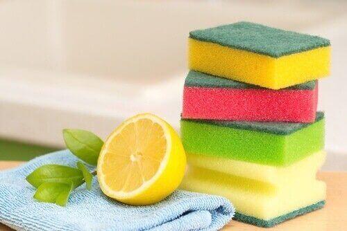 Citron og skuresvampe