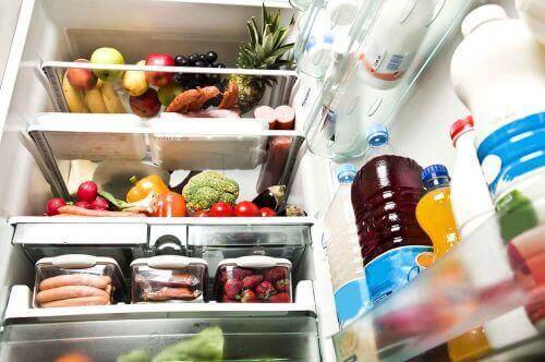 Fødevarer i køleskab symboliserer konservering af fødevarer