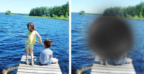 Børn fisker, men det ses med plet foran