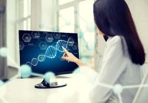Læge studerer gener på en computerskærm