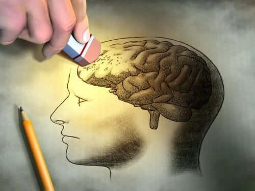Hjerne hviskes ud som illustration af amnesi