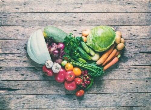 Grøntsager danner hjerte