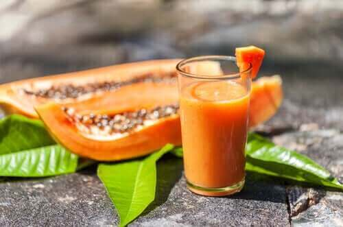 Eksempel på smoothies med papaya