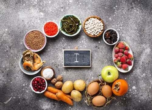 Fødevarer i cirkel om bogstavet I