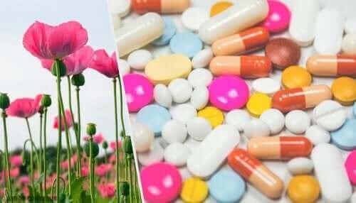 Eksempel på receptpligtige opioider i pilleform