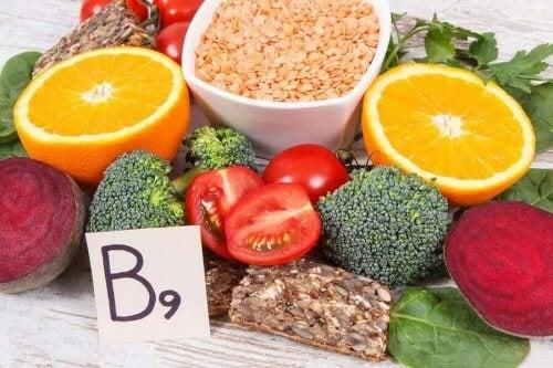 Fødevarer med B9-vitaminer