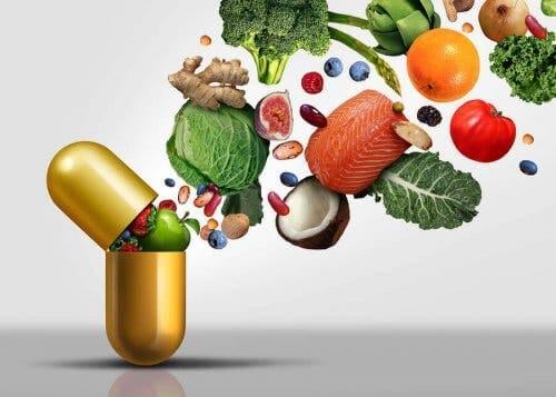 Vandopløselige vitaminer illustreres som fødevarer
