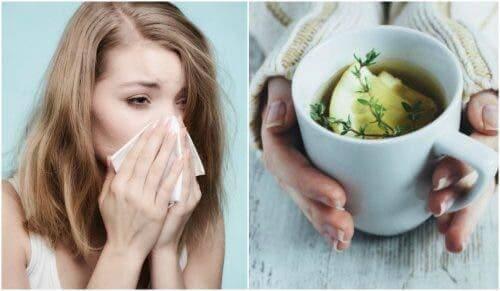 Kvinde nyser og person holder kop med te